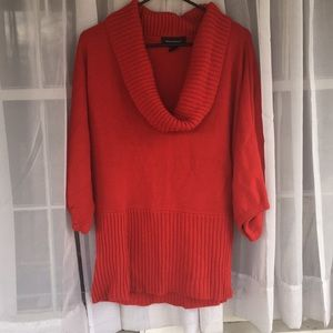 Cranberry red cowl-neck sweater